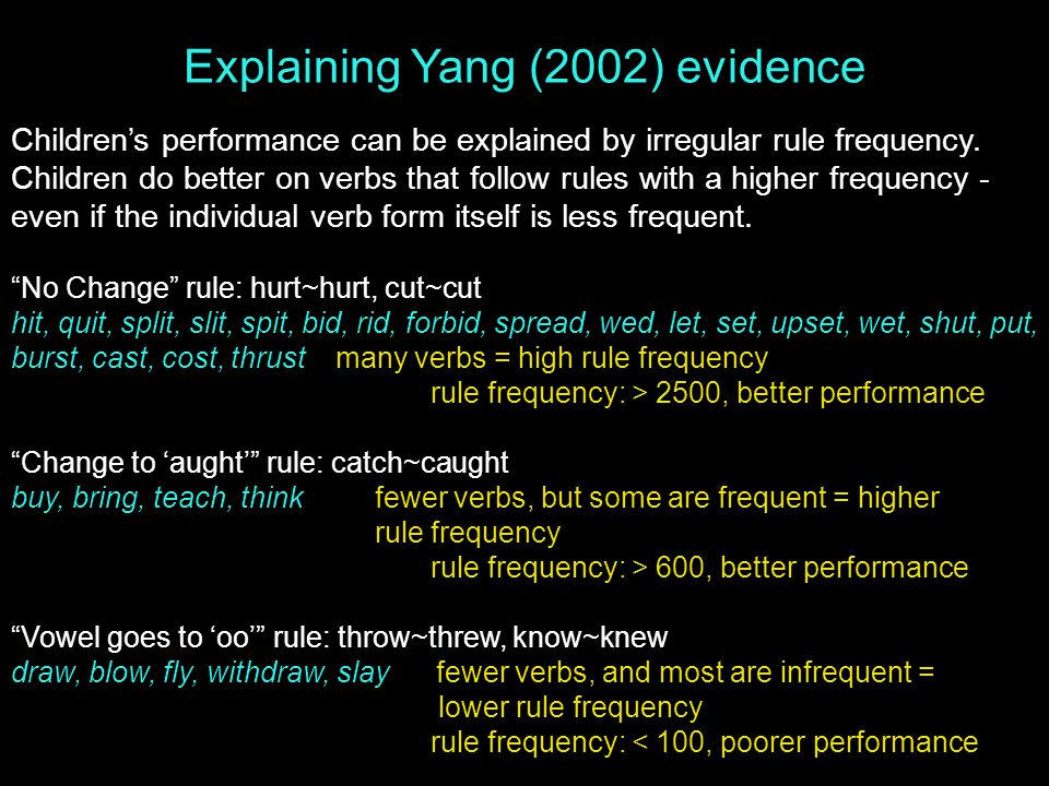 Explaining Yang (2002) evidence Children's performance can be explained by irregular rule frequency.