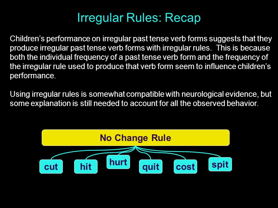 Irregular Rules: Recap Children's performance on irregular past tense verb forms suggests that they produce irregular past tense verb forms with irregular rules.
