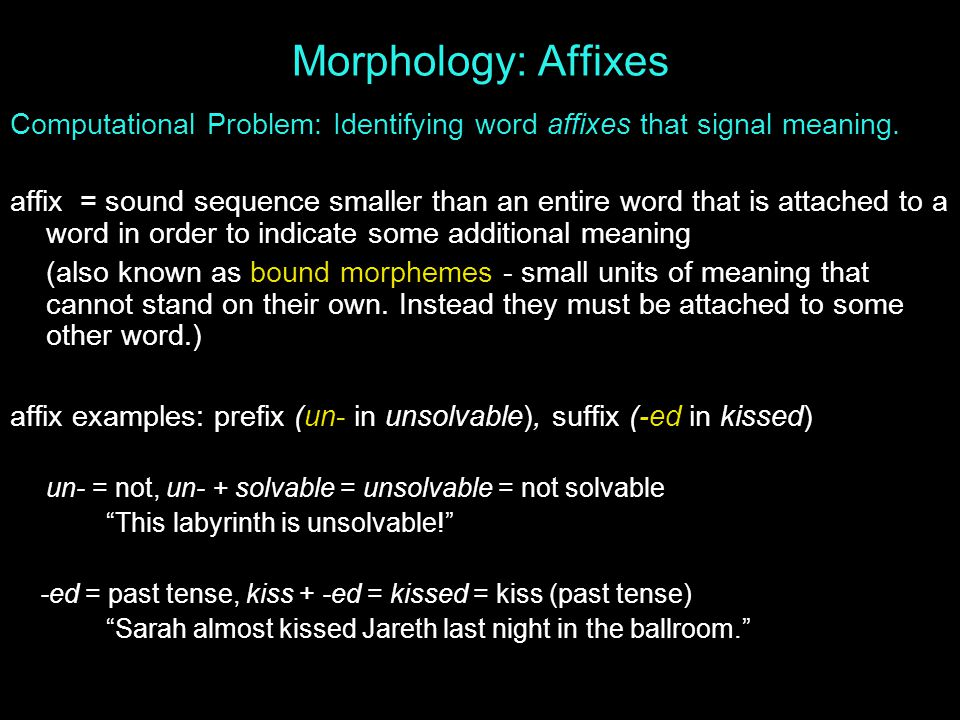 Morphology: Affixes Computational Problem: Identifying word affixes that signal meaning.