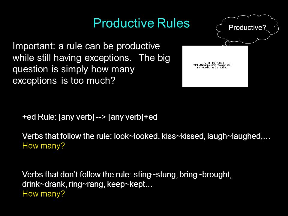 Productive Rules Productive. Important: a rule can be productive while still having exceptions.