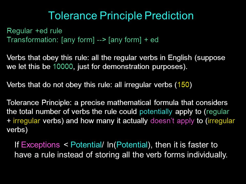 Tolerance Principle Prediction Regular +ed rule Transformation: [any form] --> [any form] + ed Verbs that obey this rule: all the regular verbs in English (suppose we let this be 10000, just for demonstration purposes).