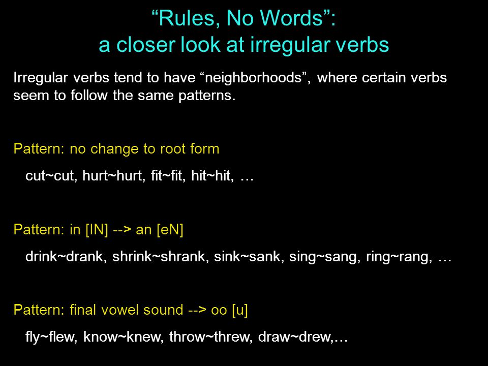 Rules, No Words : a closer look at irregular verbs Irregular verbs tend to have neighborhoods , where certain verbs seem to follow the same patterns.