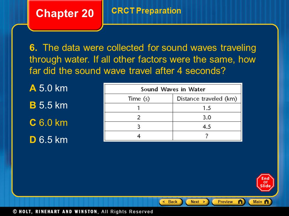 < BackNext >PreviewMain Chapter 20 CRCT Preparation 6. The data were collected for sound waves traveling through water. If all other factors were the