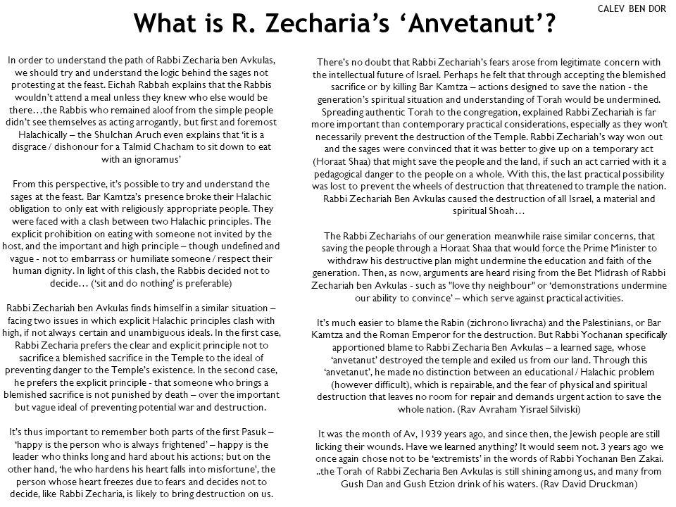What is R. Zecharia's 'Anvetanut'.