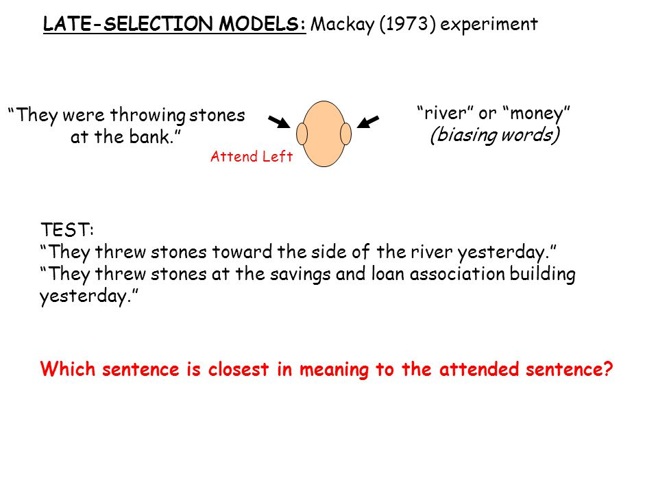 LATE-SELECTION MODELS: Mackay (1973) experiment Attend Left They were throwing stones at the bank. river or money (biasing words) TEST: They threw stones toward the side of the river yesterday. They threw stones at the savings and loan association building yesterday. Which sentence is closest in meaning to the attended sentence