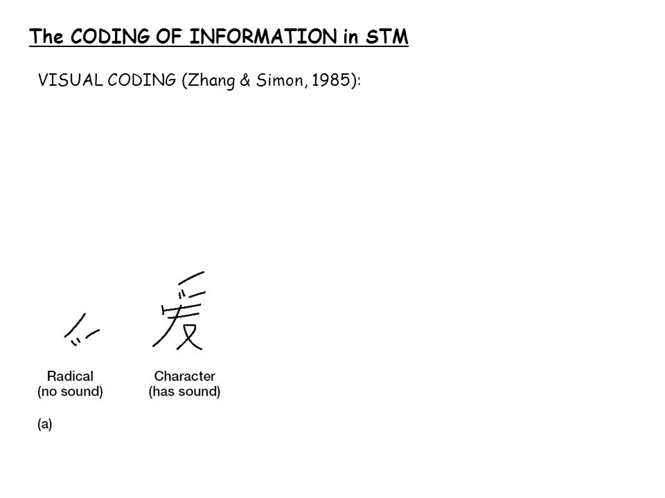 The CODING OF INFORMATION in STM VISUAL CODING (Zhang & Simon, 1985):