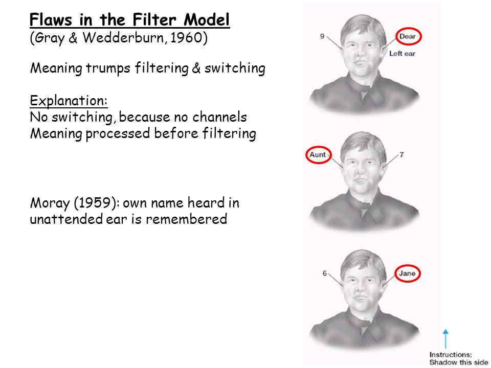 Flaws in the Filter Model (Gray & Wedderburn, 1960) Moray (1959): own name heard in unattended ear is remembered Meaning trumps filtering & switching Explanation: No switching, because no channels Meaning processed before filtering