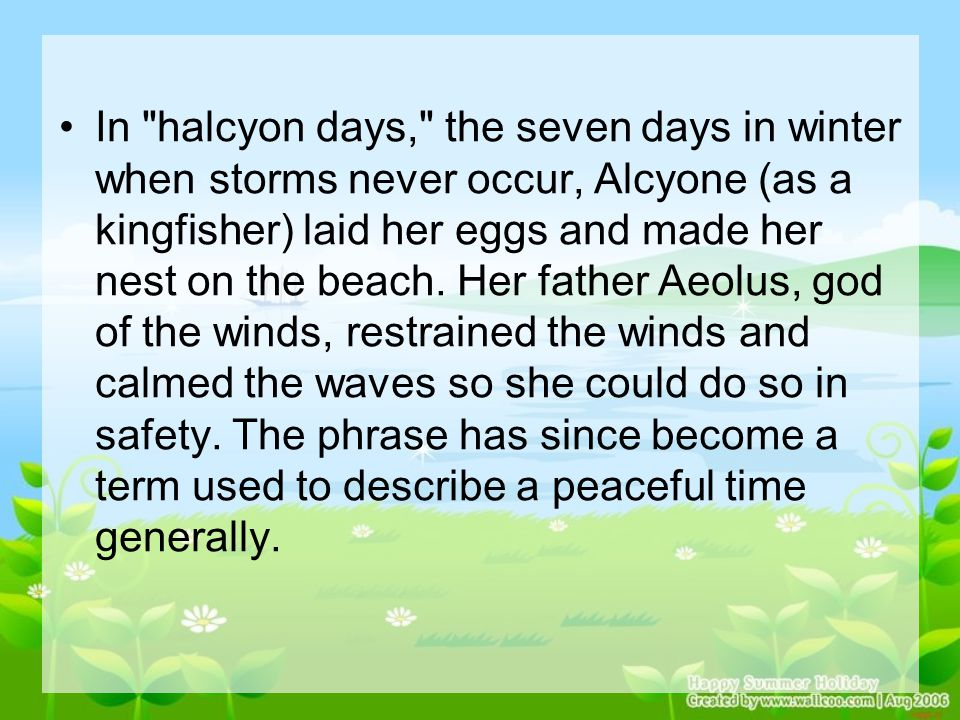 In halcyon days, the seven days in winter when storms never occur, Alcyone (as a kingfisher) laid her eggs and made her nest on the beach.
