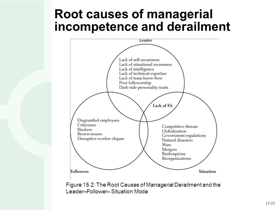 15-10 Root causes of managerial incompetence and derailment Figure 15.2: The Root Causes of Managerial Derailment and the Leader–Follower– Situation M