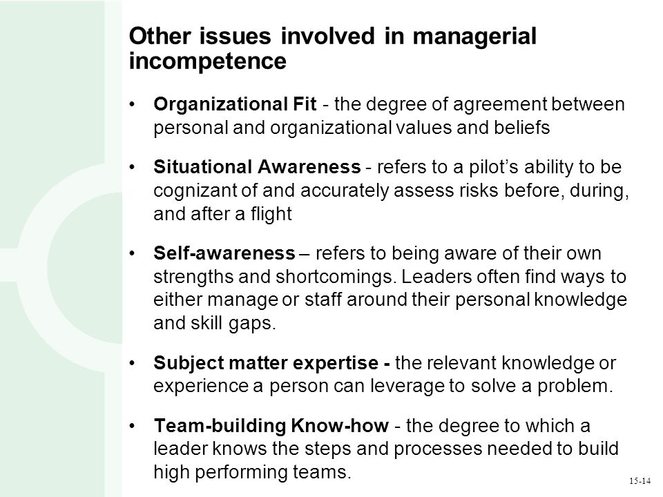 15-14 Other issues involved in managerial incompetence Organizational Fit - the degree of agreement between personal and organizational values and bel
