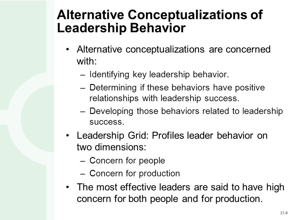 15-9 Alternative Conceptualizations of Leadership Behavior Alternative conceptualizations are concerned with: –Identifying key leadership behavior.