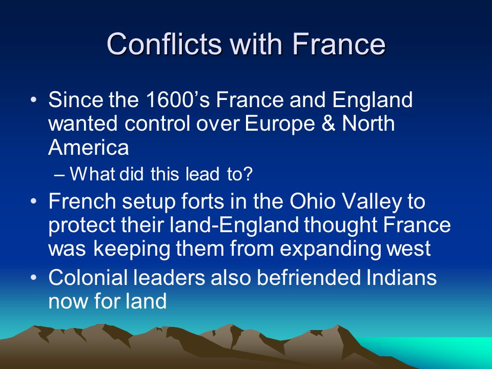 Conflicts with France Since the 1600's France and England wanted control over Europe & North America –What did this lead to? French setup forts in the