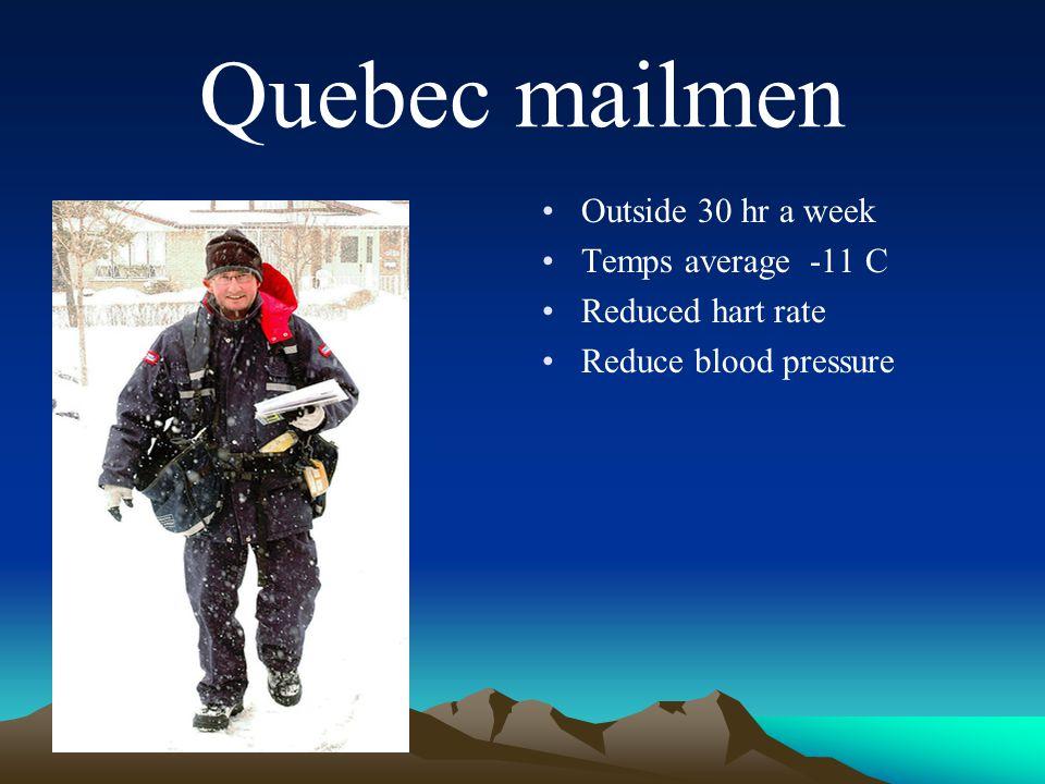 Quebec mailmen Outside 30 hr a week Temps average -11 C Reduced hart rate Reduce blood pressure