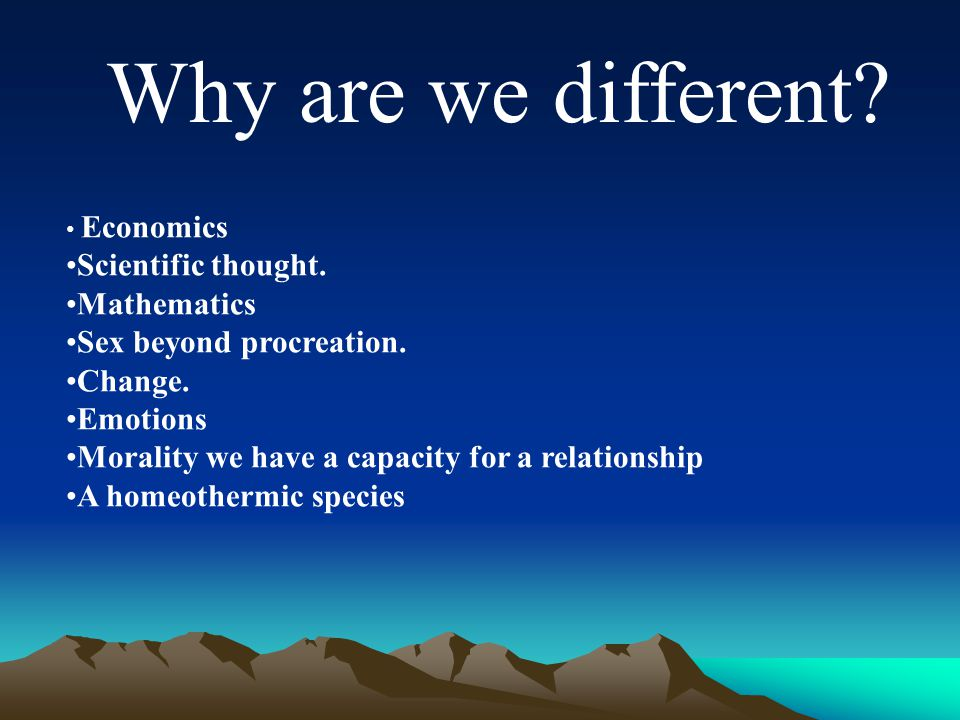 Why are we different. Economics Scientific thought.