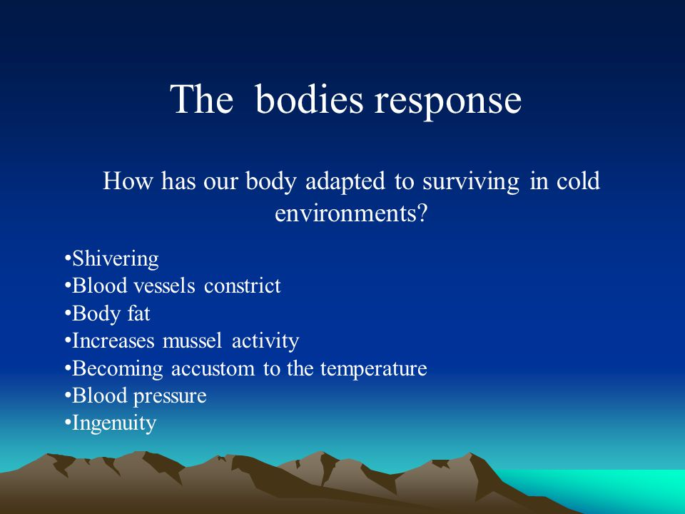 The bodies response How has our body adapted to surviving in cold environments.