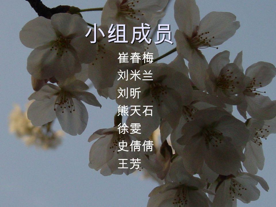 小组成员 崔春梅 刘米兰 刘昕 熊天石 徐雯 史倩倩 王芳