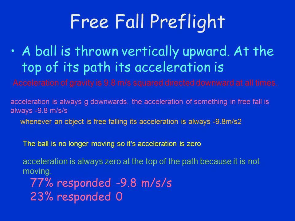 Free Fall Preflight A ball is thrown vertically upward.