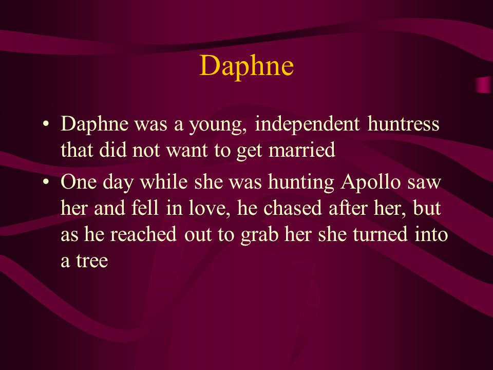 Daphne Daphne was a young, independent huntress that did not want to get married One day while she was hunting Apollo saw her and fell in love, he chased after her, but as he reached out to grab her she turned into a tree