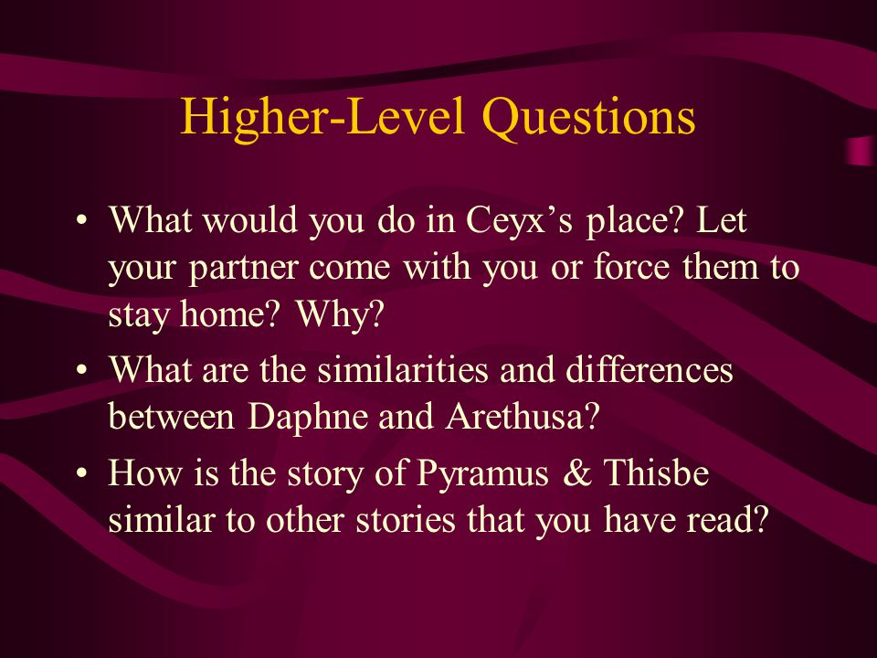 Higher-Level Questions What would you do in Ceyx's place.