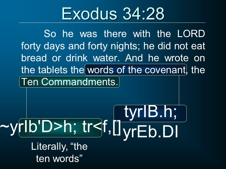 Exodus 34:28 So he was there with the LORD forty days and forty nights; he did not eat bread or drink water. And he wrote on the tablets the words of