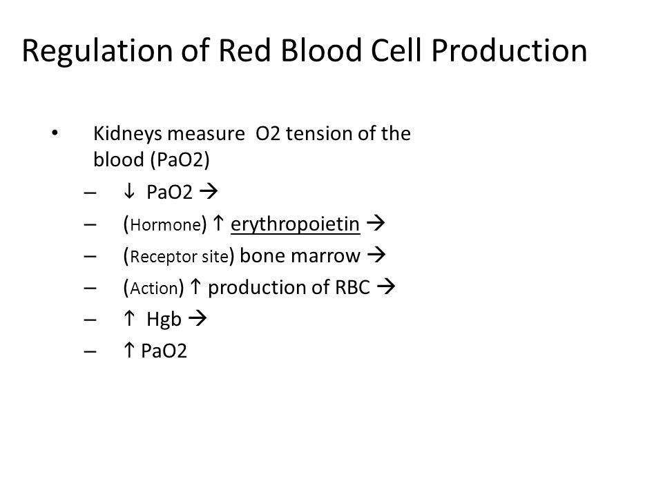 Regulation of Red Blood Cell Production Kidneys measure O2 tension of the blood (PaO2) –  PaO2  – ( Hormone )  erythropoietin  – ( Receptor site )