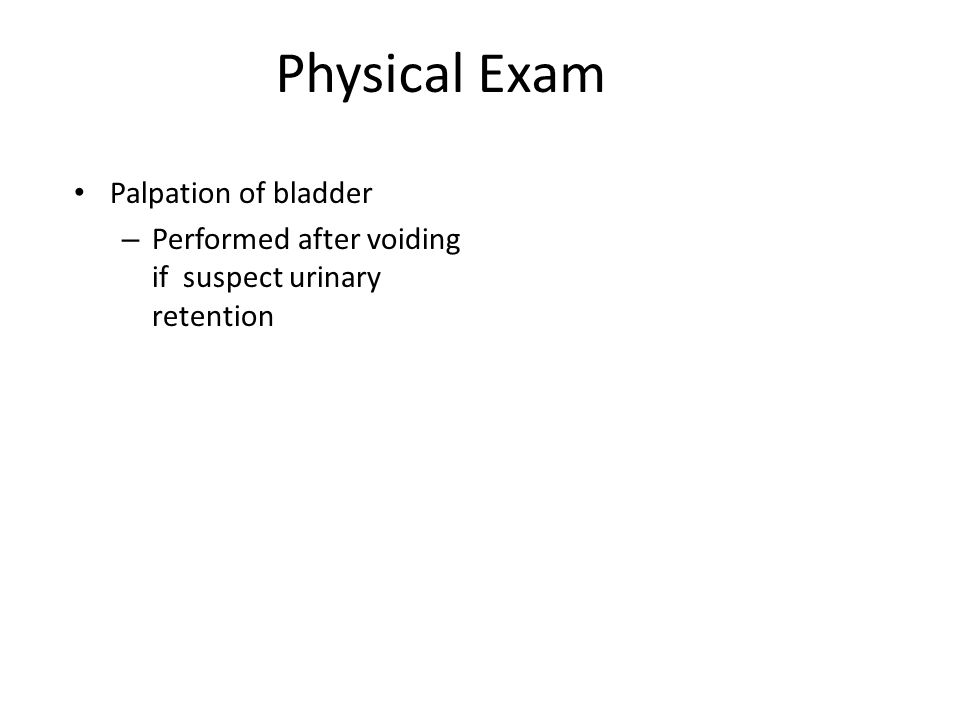 Physical Exam Palpation of bladder – Performed after voiding if suspect urinary retention