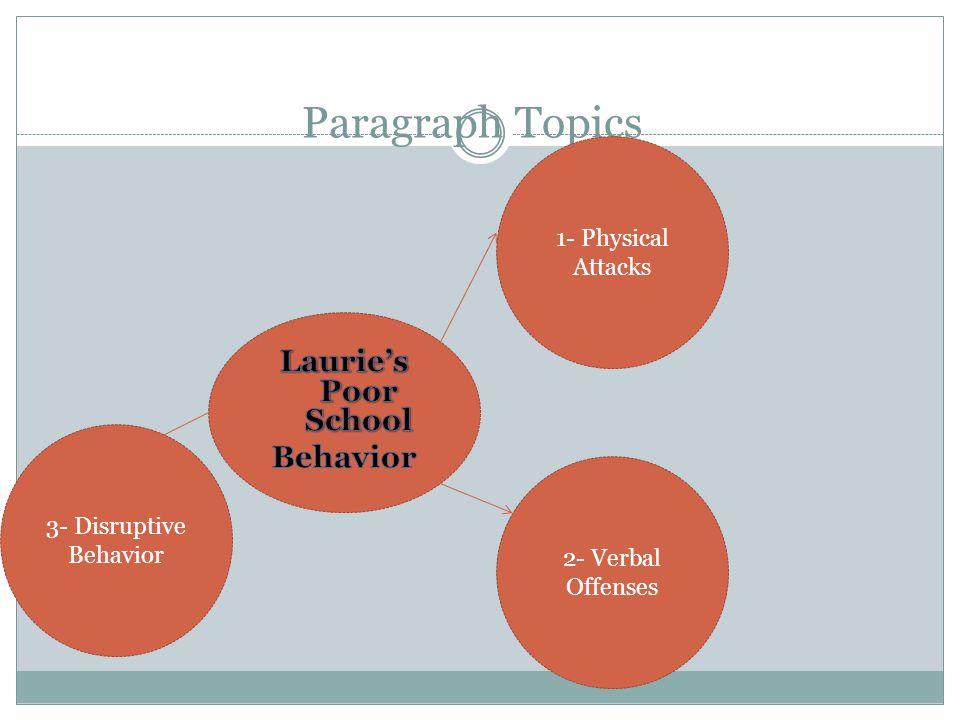 Paragraph Topics 1- Physical Attacks 2- Verbal Offenses 3- Disruptive Behavior