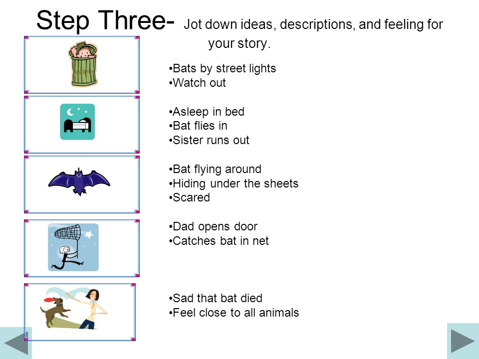 Step Two - Make a Story Board Sketch the events of your story in an order that makes sense.