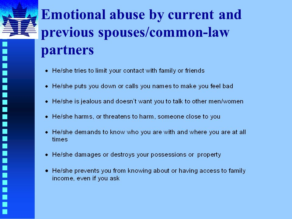 Emotional abuse by current and previous spouses/common-law partners