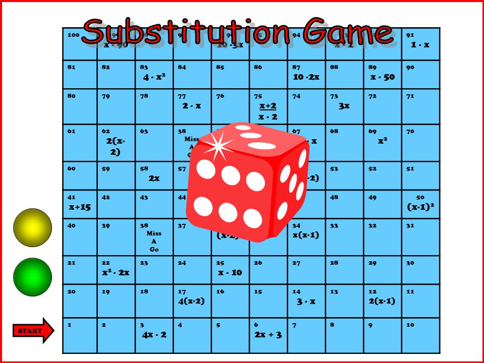 4x - 2 The number on the dice is 'x'. 4 x 3 – 2 = 10 So move forwards 10…