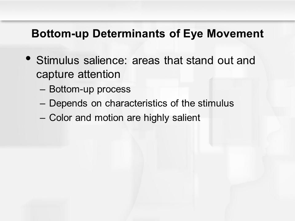 Bottom-up Determinants of Eye Movement Stimulus salience: areas that stand out and capture attention –Bottom-up process –Depends on characteristics of