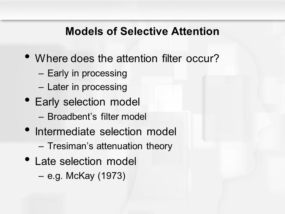 Models of Selective Attention Where does the attention filter occur? –Early in processing –Later in processing Early selection model –Broadbent's filt