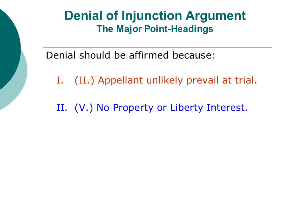 Denial of Injunction Argument The Major Point-Headings Denial should be affirmed because: I.(II.) Appellant unlikely prevail at trial.