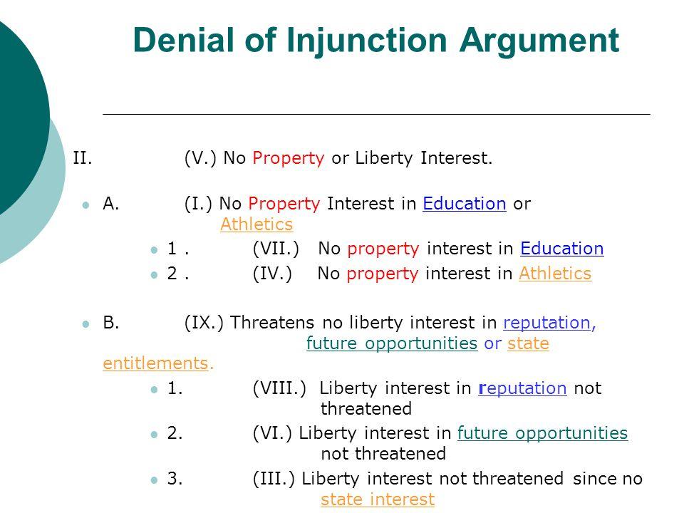 Denial of Injunction Argument II.(V.) No Property or Liberty Interest.