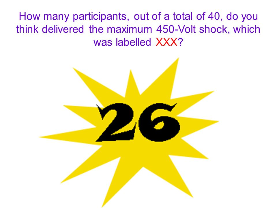 How many participants, out of a total of 40, do you think delivered the maximum 450-Volt shock, which was labelled XXX?