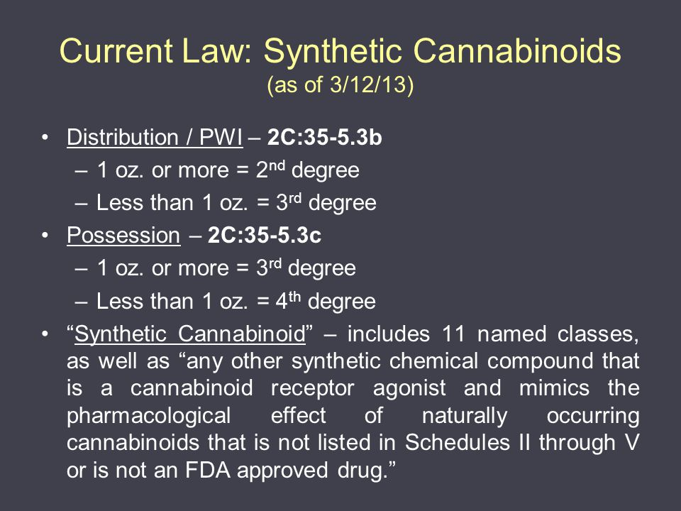 Current Law: Synthetic Cannabinoids (as of 3/12/13) Distribution / PWI – 2C:35-5.3b –1 oz.