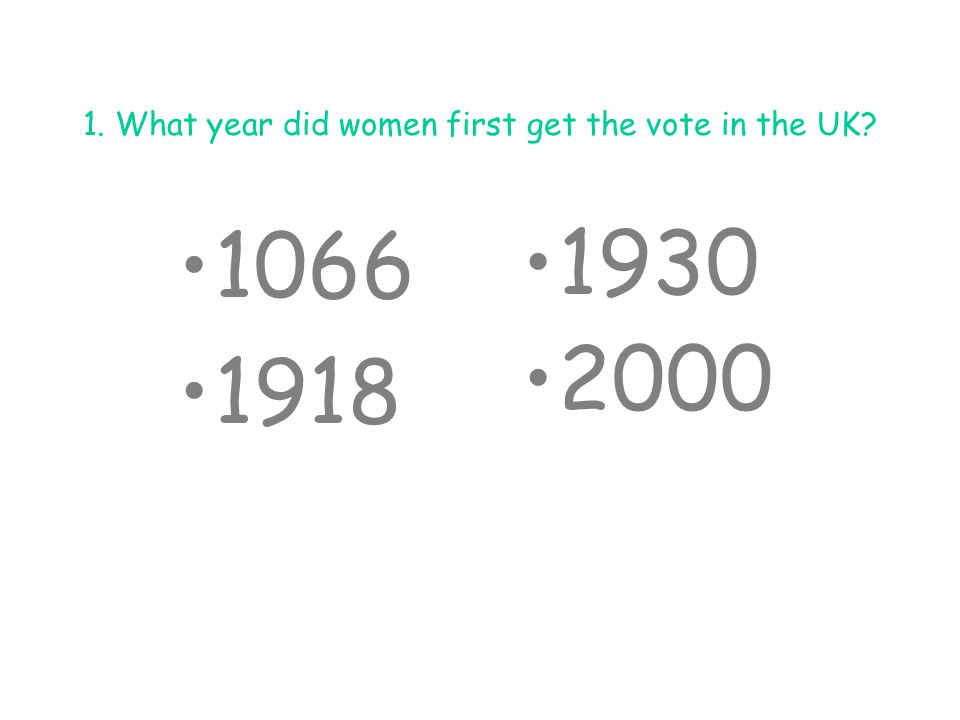 1.What year did women first get the vote in the UK.