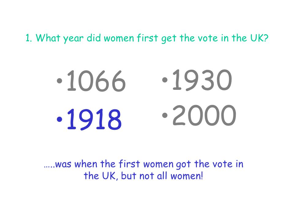 2.What did you have to own as a woman in order to be able to vote in 1918.