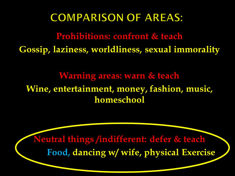 Prohibitions: confront & teach Gossip, laziness, worldliness, sexual immorality Warning areas: warn & teach Wine, entertainment, money, fashion, music, homeschool Neutral things /indifferent: defer & teach Food, dancing w/ wife, physical Exercise