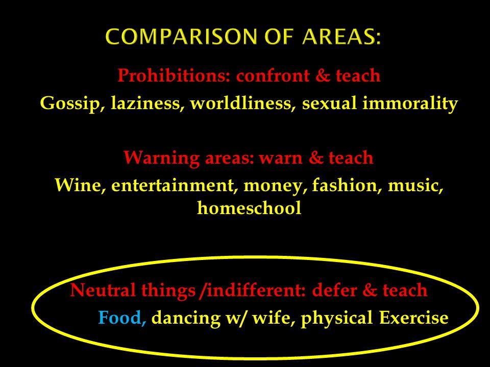 Prohibitions: confront & teach Gossip, laziness, worldliness, sexual immorality Warning areas: warn & teach Wine, entertainment, money, fashion, music
