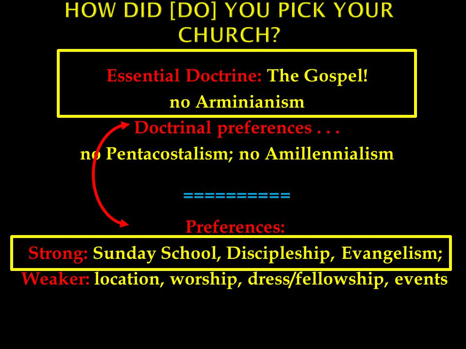 Essential Doctrine: The Gospel.no Arminianism Doctrinal preferences...
