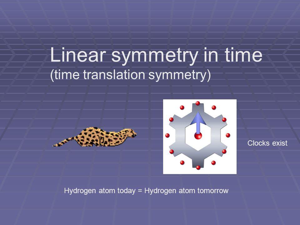 Linear symmetry in time (time translation symmetry) Hydrogen atom today = Hydrogen atom tomorrow Clocks exist