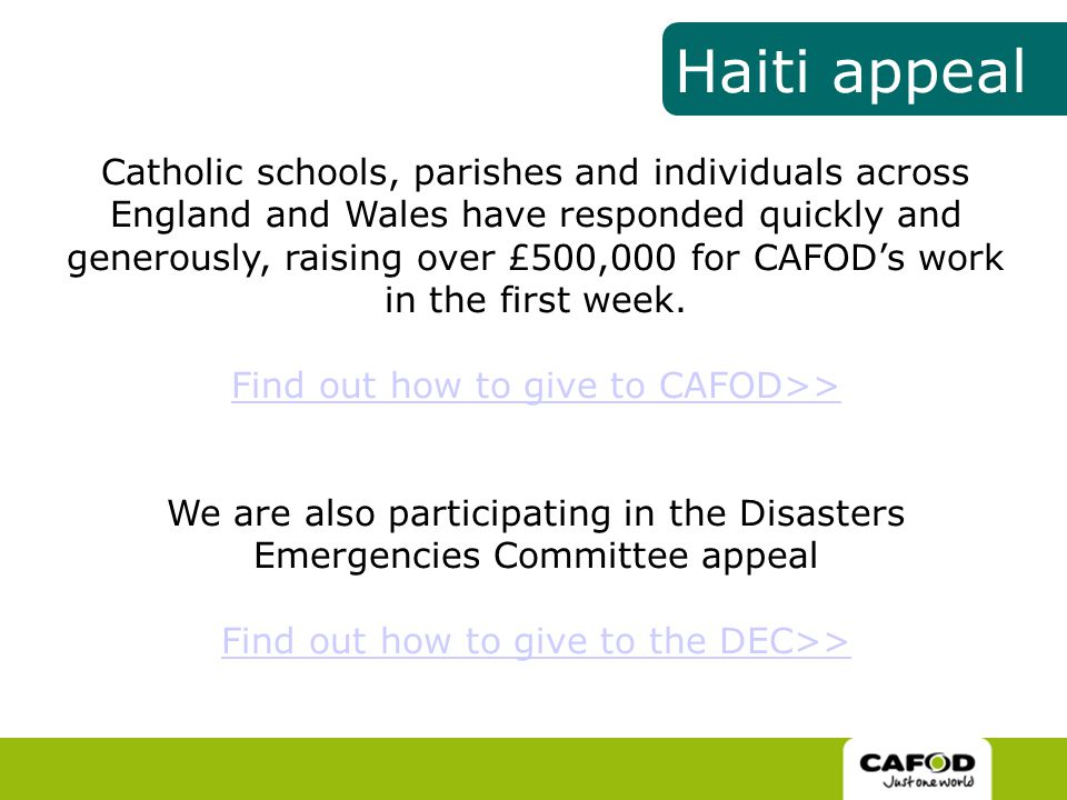 Catholic schools, parishes and individuals across England and Wales have responded quickly and generously, raising over £500,000 for CAFOD's work in the first week.