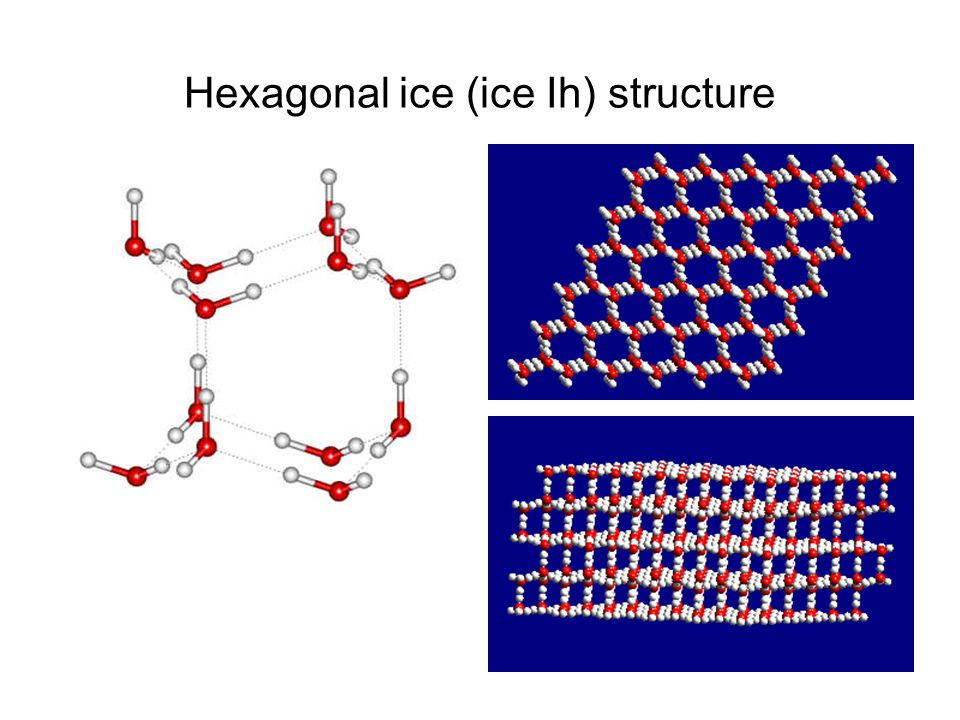 Hexagonal ice (ice Ih) structure