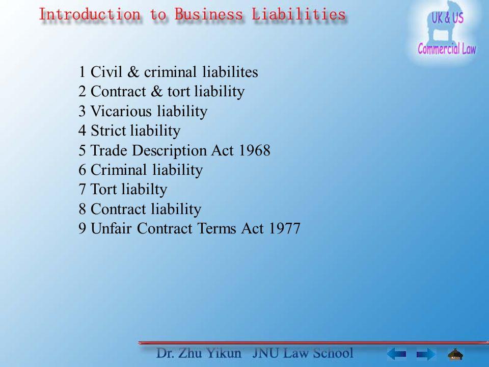 1 Civil & criminal liabilites 1.1 Burden of proof Criminal law Prosecutor Beyond reasonable doubt Civil law Plaintiff Facts alleged are true Such facts lead to liability Criminal case: presumption of innocence.