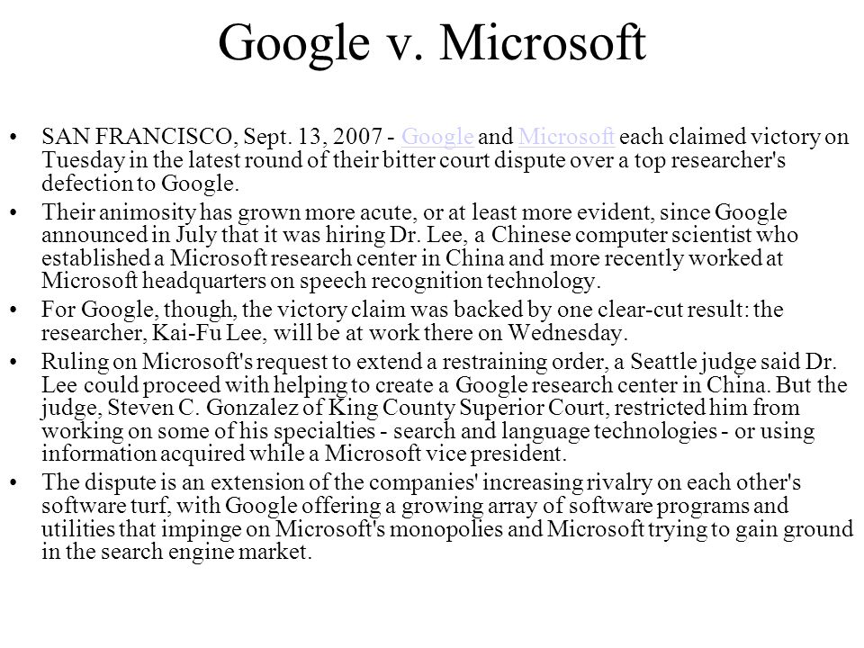 Google v. Microsoft SAN FRANCISCO, Sept.