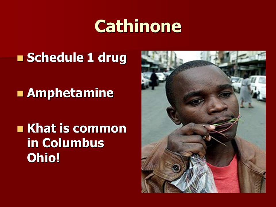 Cathinone Schedule 1 drug Schedule 1 drug Amphetamine Amphetamine Khat is common in Columbus Ohio.