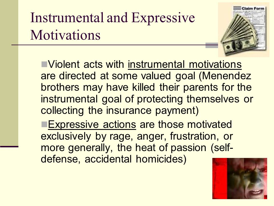 Instrumental and Expressive Motivations Violent acts with instrumental motivations are directed at some valued goal (Menendez brothers may have killed their parents for the instrumental goal of protecting themselves or collecting the insurance payment) Expressive actions are those motivated exclusively by rage, anger, frustration, or more generally, the heat of passion (self- defense, accidental homicides)