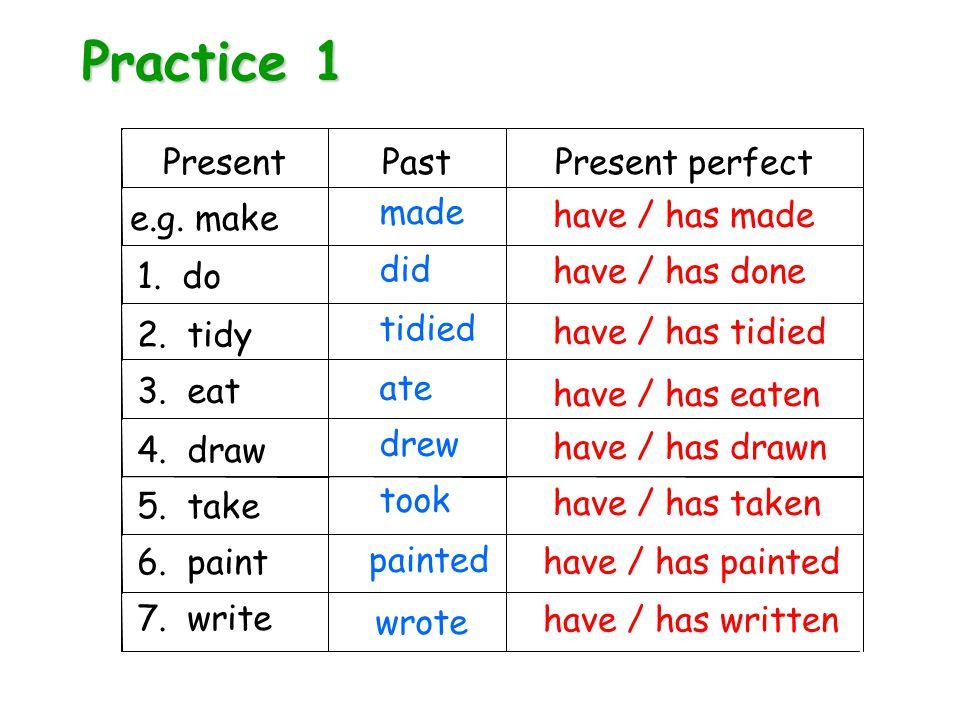 Practice 1 PresentPastPresent perfect e.g. make 4.