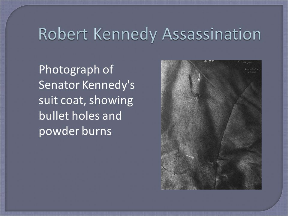 Photograph of Senator Kennedy s suit coat, showing bullet holes and powder burns